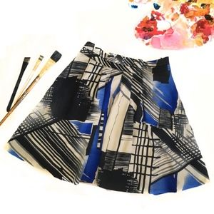 Abstract Print Pleated Skirt With Pockets Size M